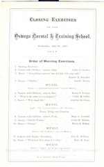 1867 Closing Exercises program of the Oswego Normal & Training School