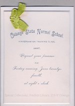 1887 Oswego State Normal School Kindergarten Training Class commencement invitation
