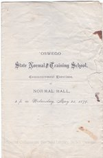 1879 Oswego State Normal and Training School Commencement Exercises program.
