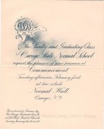 1898 Oswego State Normal School Commencement invitation