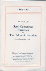 1911 Commencement of the Oswego State Normal and Training School and of the Normal High School and the Alumni Reunion program