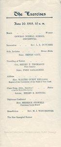 1919 Oswego State Normal & Training School Commencement program