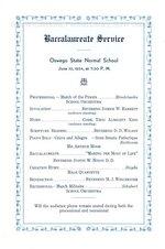 June 1934 Baccalaureate Service program