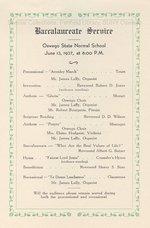 1937 Oswego State Normal School Baccalaureate Service program