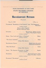 1950 SUNY State Teachers College at Oswego Commencement + Baccalaureate programs