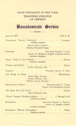 1951 SUNY Teachers College at Oswego Commencement, Alumni Reunion + Baccalaureate Service programs