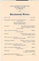 1953 SUNY Teachers College at Oswego Commencement + Baccalaureate Service programs
