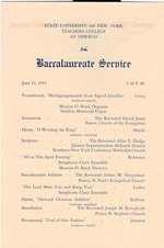 1954 SUNY Teachers College at Oswego Commencement + Baccalaureate Service programs