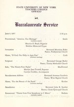 1957 SUNY Teachers College at Oswego Commencement + Baccalaureate Service prorams