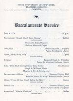1958 SUNY Teachers College at Oswego Commencement + Baccalaureate Service programs