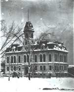 City Hall with snow on the gro