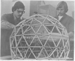 Students with geodesic dome