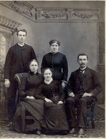 Family group.  Unidentified.  3 women and 2 men.  Black & white formal portrait.