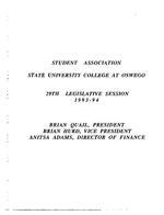 29th Session (1993-94) Legislative Documents