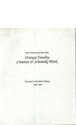 State University of New York Oswego Faculty Creative & Scholarly Work: 1994-1996
