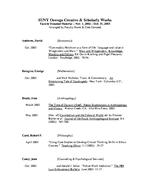 SUNY Oswego Creative & Scholarly Works: Faculty Donated Material – Nov. 1, 2002 – Oct. 31, 2003