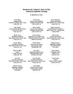 Reviewers for volume 2, issue 2 of the Journal of Authentic Learning